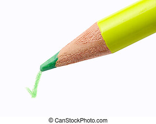 Check Mark - Pencil writing a green check mark on a white...