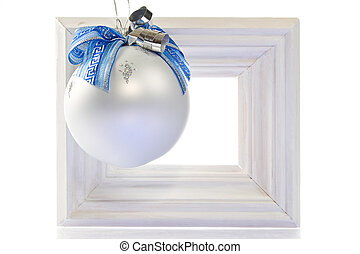 Christmas decoration-white wooden frame, smart orante ball...