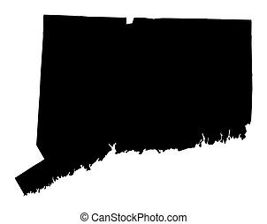 map of Connecticut, USA - Detailed isolated b/w map of...