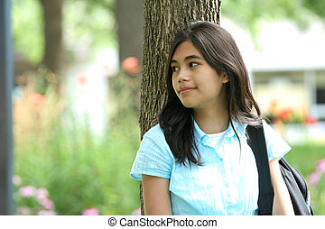 Teen ready for School - Cute teen girl carrying backpack...