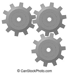 3d Gears Isolated - A render of three 3d gears isolated on a...