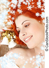 redhead girl with white christmas bells and snowflakes -...