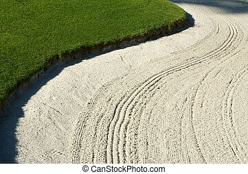 Abstract of Golf Bunker - Abstract of bunker and lush Green...