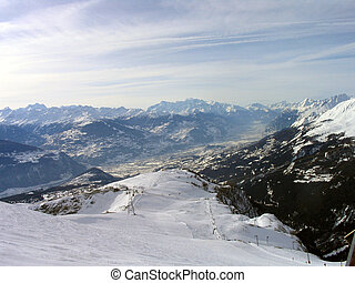 Swiss Alps Mountains - A general view of the ski resort of...