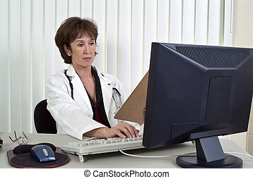 Paperwork - A woman dressed as a doctor working on a...
