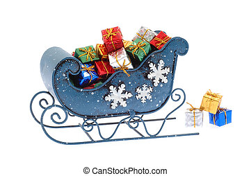 Blue Sleigh - Blue sleigh filled with many colorful presents...