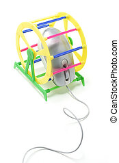 Computer Mouse in Pet Exercise Wheels