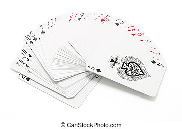 Playing Cards - Playing cards drop out on white background