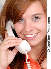 Happy Phone Call - Beautiful Red Head Young Woman Speaking...
