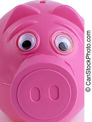 Surprised Piggybank - Pink Plastic Piggy Bank Close Up Macro...