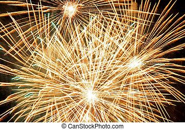 Golden fireworks bursts. Fireworks festival.