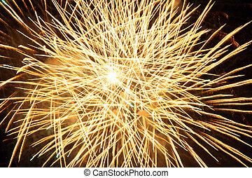 Yellow fireworks burst Fireworks festival