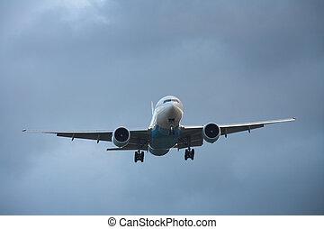 Landing airplane - Photo of an airplane just before landing.