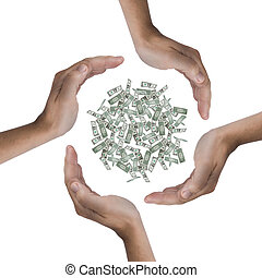Economize the money - Some hands protecting a lot of dollars