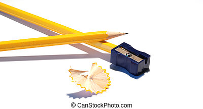 pencil and pencil-sharpener - yellow pencil and...