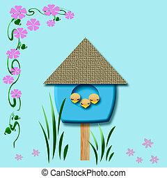 baby birds birdhouse - baby birds sleep in blue birdhouse...