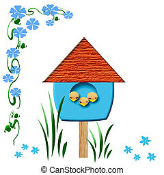 baby birds birdhouse - baby birds sleep in blue birdhouse...