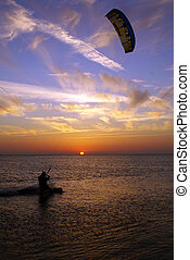 Kite surfing and sunset - Sports on the Black sea, Sochi,...