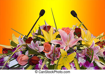 Microphones - Two microphones on a colorful background