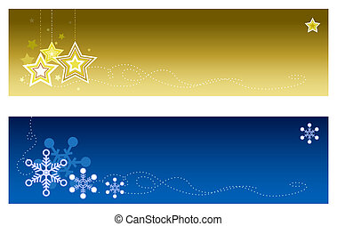 Christmas Banners #2 - Festive banners with copy space. Top...
