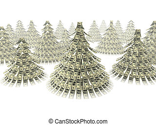 Christmas dollars - Dollars notes maden as Christmass tree...