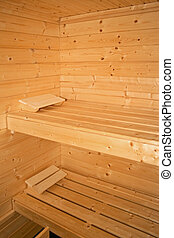 Sauna bench - Inside view of sauna with two wooden benches