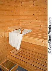 Sauna inside - Inside sauna towel and brush on the bench