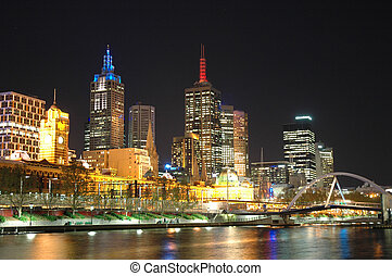 Brisbane City - Night shot of Brisbane City along the River