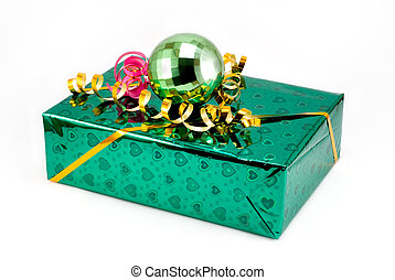 Fancy box - Gift box of green color with a yellow tape and a...