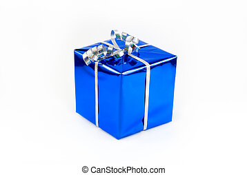 Fancy box 2 - Gift box of blue color with a silvery tape