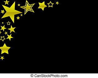 Gold stars border - A black page with a gold star border