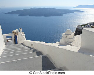 santorini landscape - volcan view from Santorini greece...
