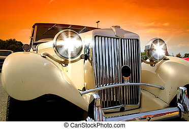 Shinny Classic Car - Shinny classic car with colorful sky...