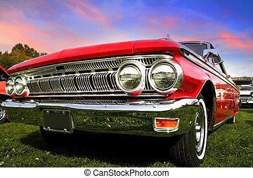 Red Muscle Car - Red muscle car wide angle shot with...