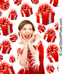 screaming christmas girl surrounded by falling gift boxes