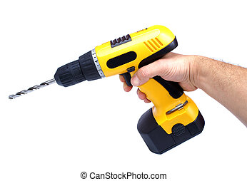 Hand drill - Hand yelow drill isolated