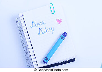 Notebook, Dear Diary - Small spiral notebook with Dear Diary...