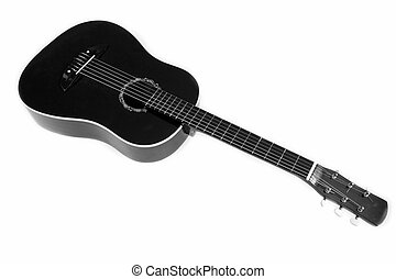 Black six-string guitar on a white background