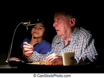 Grandpa & granddaughter - Great grandfather talking with his...