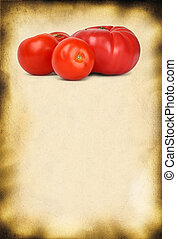 paper background and tomatos - old paper background and...