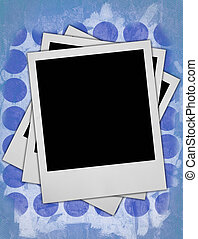 photo frames - three blank photo frames against dirty rough...