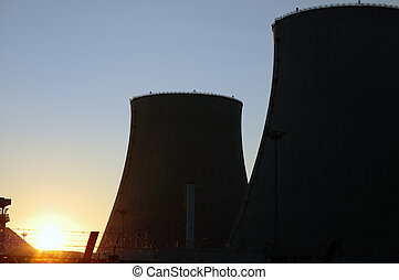 NUCLEAR POWER PLANT COOLING TOWERS - View of a twin nuclear...