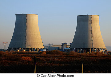 Nuclear, poder, planta, esfriando, torres