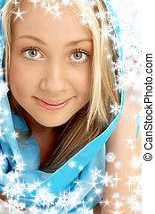 smiling blond in blue scarf with snowflakes - portrait of...