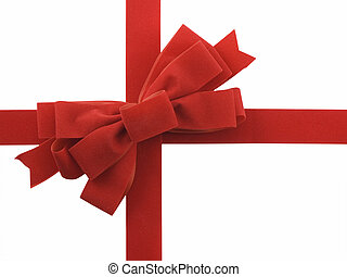 Red ribbon and bow isolated on white