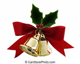Holly and Bells - Christmas bells, holly and a red bow...