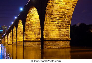 Stone Arch Bridge at Nigh - Minneapolis Landmark at night