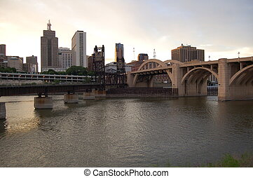 St. Paul Bridges at Dusk - St. Paul bridges over the...