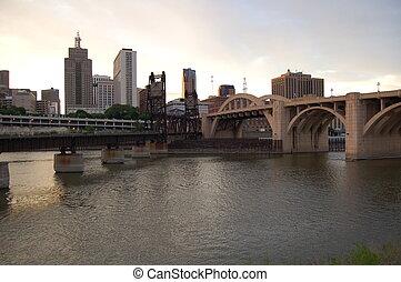 St. Paul Bridges at Dusk - St. Paul bridges over the...