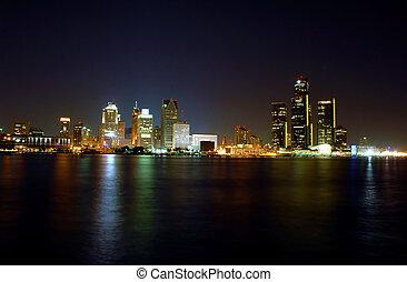 Detroit Skyline at Night - night falls on the detroit river